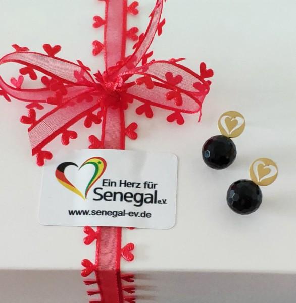 Ohrstecker, gelb, facettierte Onyx Kugel 10 mm, Ein Herz für Senegal