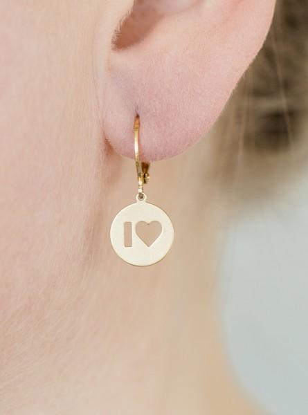 Ohrhänger I Love mit Edelstein