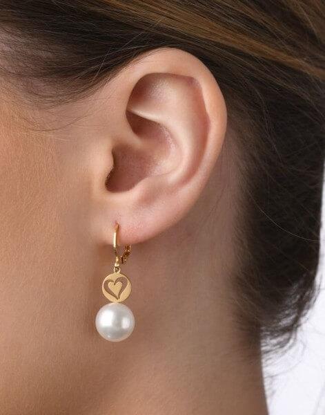 Ohrhänger, gelb, weiße Süßwasserzuchtperle, Ein Herz für Senegal