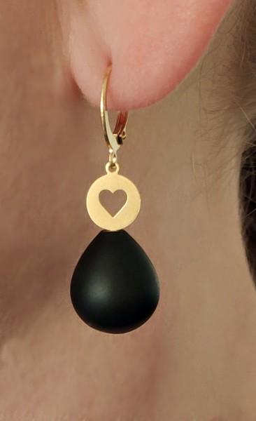 Ohrhänger Herz mit Edelstein