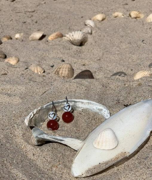 Ohrhänger Herz Senegal mit Edelstein