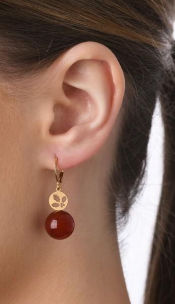 Ohrhänger Stechpalme mit Edelstein